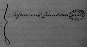 While he used the English name John Zumbrun in his will and land records and for the Census, he still signed his will with the German spelling Johannes.
